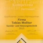 Junkers Urkunde Wärmepartner 2015
